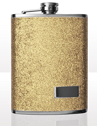 Outdoor Saxx® - roestvrij stalen heupfles design glitter goud, hoogwaardige zakfles whiskey jenever schroefsluiting, 240ml, goud