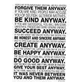 Mother Teresa Anyway Quote Poster 13 By 19inches Premium Gloss Poster Paper