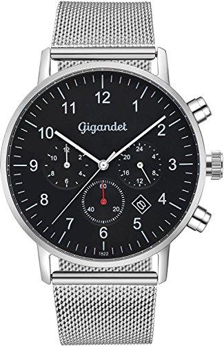 Gigandet herenhorloge minimalistisch dualtijdhorloge analoog met Milanese roestvrijstalen armband G21-006