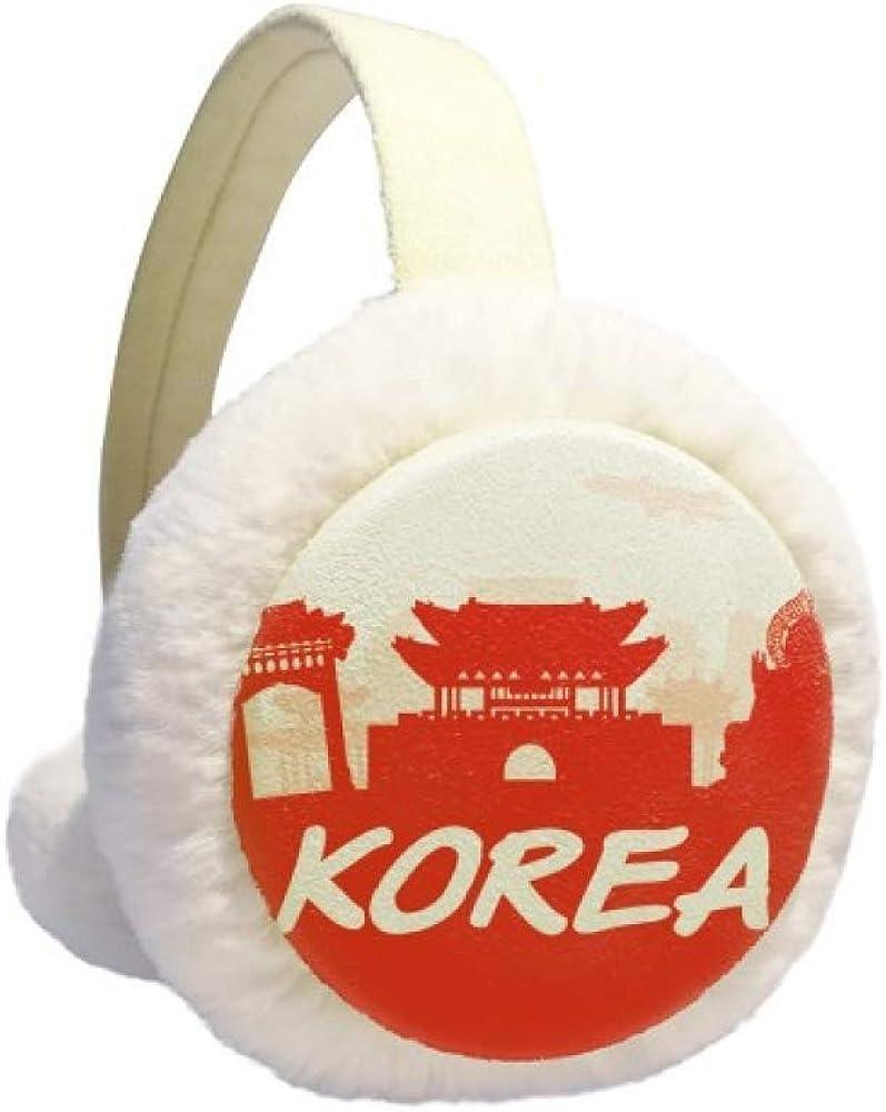 Red Outline Landmark Korea Winter Earmuff Ear Warmer Faux Fur Foldable Plush Outdoor Gift