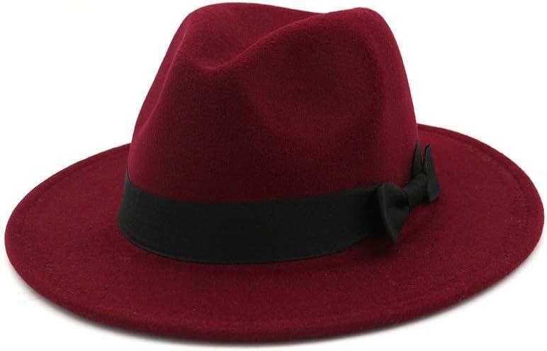 ZLQQLZ Women Cap Men's Women's Wool Fedora Hat Gangster Gentleman Hat Wide Brim Fascinator Hat Hat (Color : Wine red, Size : 56-58)