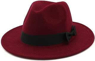 XinLin Du Men's Women's Wool Fedora Hat Gangster Gentleman Hat Wide Brim Fascinator Hat