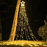 """PUHONG Christmas Decoration Outdoor Star String Lights,16.4Ft Christmas Tree Topper Lights 320 LED 8 Modes with 14"""" Lighted Star,Roof Yard Tree Decor for Christmas Wedding Holiday Party (Warm White)"""