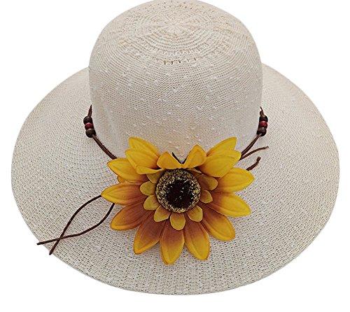 Freedi Womens Sun Straw Hat Large Wide Brim Travel Beach Bow Bucket Cord Visor Cap