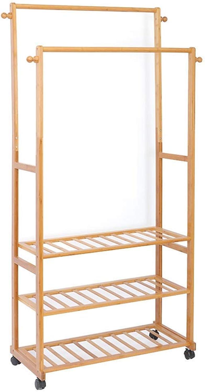 DYR 3-in-1 Coat Rack, Bamboo, Floor-Standing, Removable, Multi-Function, Coat Rack, shoes Rack, Storage Rack, 4 Hooks, 70  33  165 cm