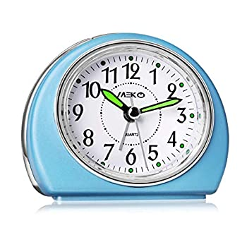 Alarm Clocks Non-Ticking for Bedrooms MEKO Smart Tickless AA Battery Powered Travel Alarm Clock with Snooze and Nightlight Silent No Ticking Bedside Clock Blue