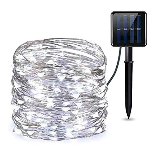 Solar String Lights, Solar Rope String Lights, Waterproof Outdoor Garland Solar Power Lamp Christmas for Garden Decoration(1 Pack 72 ft/22m 200 LED,Warm White)