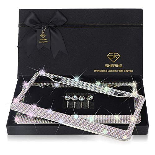 Shering Bling License Plate Frame, 2 Pack License Plate Frame with Premium Gift Box for Women,Rhinestone License Plate Frames with 1100pcs AB Colorful Rhinestones and 7 Shiny Crystal Rows