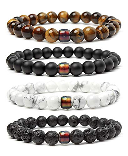 Rinspyre 8mm Natural Healing Crystal Stone Bracelet with Color Changing Thermo Sensitive Bead Mood Bracelets, Color 1