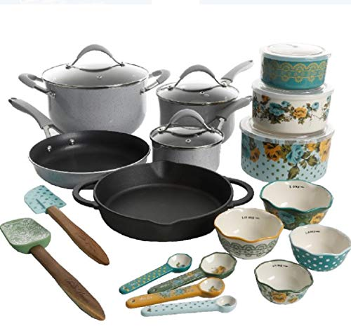 The Pioneer Woman Speckled Cookware 24 Pc Cookware Pots Pans Enameled Aluminum Non Stick (Gray Speckle)