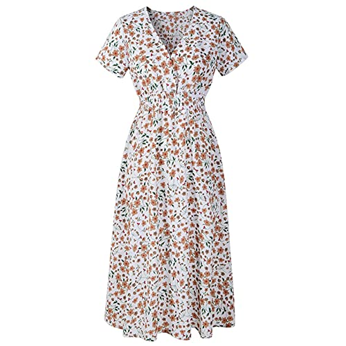 Liably Vestido de mujer de gasa estampado, cuello en V, manga corta, con cola de milano, vestido de verano a la moda, cintura alta, flores, vestido largo suelto, vestido de playa Y2k Blanco XL