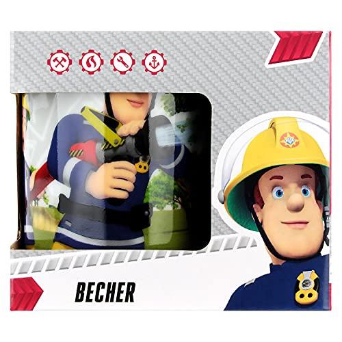 POS 27126 - Tasse mit Feuerwehrmann Sam Motiv, aus Porzellan, Fassungsvermögen circa 200 ml, spülmaschinen- und mikrowellengeeignet, ideal für Kaffee und andere Getränke, sortiert