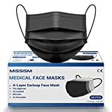 Medical Grade Face Mask Disposable Black 4 Layer 50 pcs, Breathable Face Mask with Metal Nose Wire Clip and Soft Elastic EarLoops Mask for Family Adult Teens
