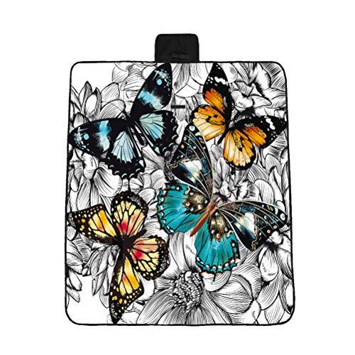 LIOOBO 1 STÜCK 3D Bunte Cashew Blume Druckmuster Faltbare Picknickdecke Strandkissen Kleine Verdickte Außenmatte (Schmetterling Muster 148 * 122 cm)
