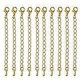 10pcs Hallazgos Extensores Collar de Joyería de Cadena de Enlace de Extensión de 75 Mm de Oro