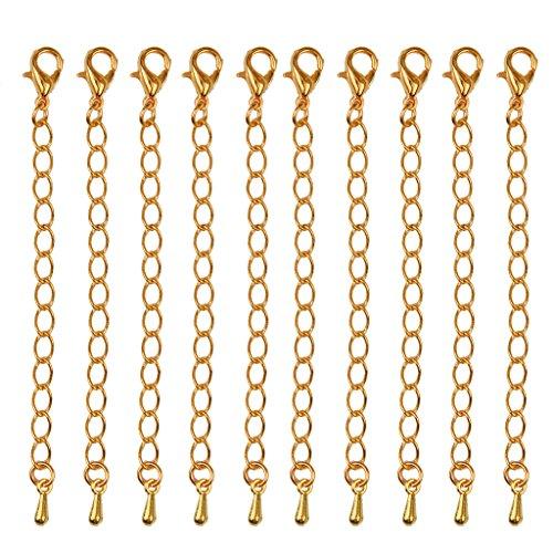 Lote de 10 cadenas con cierre para extensión de collar (75mm), para joyas DIY y manualidades