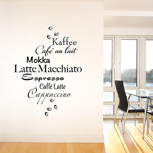 Grandora W937 Muurtattoo koffie mokka espresso keuken (BxH) 70 x 92 cm turquoise