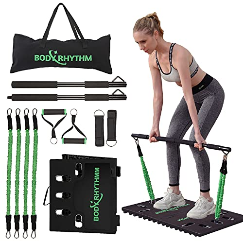 BODY RHYTHM Portable Home Gym Workout Set- Includes Heavy Resistance Bands, Collapsible Bar, Handles, Door Anchor & Ankle Straps - Full Body Workout for Home Fitness& Exercise.