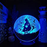 3D Illusion Lamp Anime Uchiha Itachi Figure Naruto Night Lights Model Shippuden Doll Toys Collector Brinquedos Action Figural Table Decor Gift Lamp led Night Light for Kids 7 Color Touch