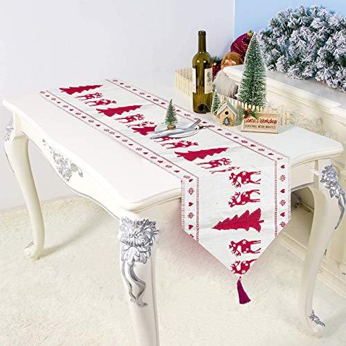 MIFIRE Camino de Mesa navideño Bordado, Mantel Decorativo para Mesa de Centro para cenas navideñas, decoración Festiva temática para el hogar, la Oficina y el Restaurante (árbol de Navidad)