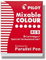 (Pack of 6 & Red) - Pilot Parallel Pen Ink Refills for Calligraphy Pens, Red, 6 Cartridges per Pack (77307)