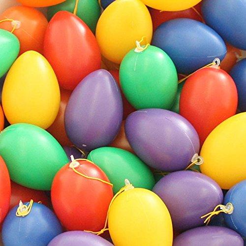 Annastore 30 x Eier aus Plastik zum Hängen 6 cm, bunt Sortiert - Ostereier Osterdeko