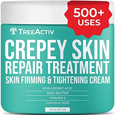 TreeActiv Crepey Skin Repair Treatment | Hyaluronic Acid Skin Firming & Tightening Lotion for Sagging Neck, Arms, Chest, & Legs | Anti-Aging & Anti-Wrinkle Cream & Stretch Marks Remover | 500+ Uses from Treeactiv