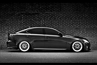 Driver Motorsports Lexus IS250 is Right Side Black and White on SSR Wheels HD Poster Jumbo 48 X 32 Inch Print