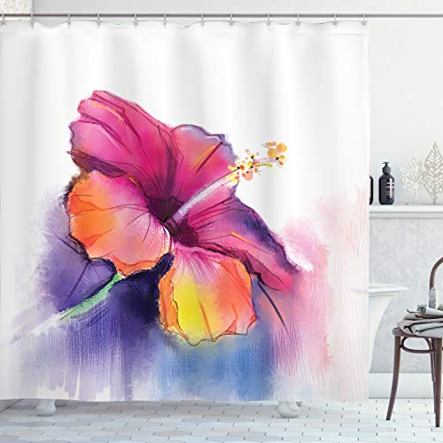 Ambesonne Watercolor Flower Home Decor Shower Curtain, Hibiscus Flower in Pastel Abstract Romantic Petal Pattern, Fabric Bathroom Decor Set with Hooks, 70 Inches, Orange Purple