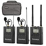 Pixel 100-Channel Dual Channel UHF Professional Wireless Lavalier Microphone Receiver Compatible with DSLR Camera/Camcorders/Phones Used in Video Recording,Program Hosting Teaching and Interview