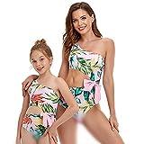 Bonfor Bikini Niña 2-12 años & Bikinis Mujer 2021 Brasileños Braga Alta Marca Hombro Oblicuo - Ropa de Baño Madre e Hija, Tajes de Baño de Dos Piezas (Estampado, 10-12 años)