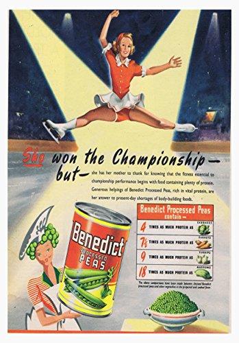 Benedictus erwten poster rijk in vitaal eiwit ingeblikt voedsel foto vintage oude reclame kunstwerk klassieke ouderwetse commerciële
