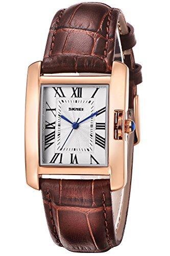 Damen Uhr Analog Quarz mit Leder Armband Rechteck Zifferblatt (braun)