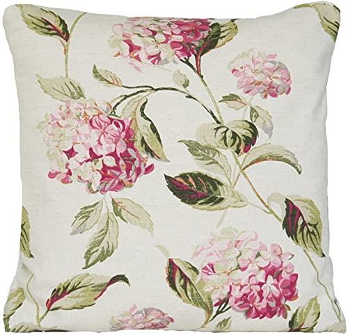 SHAA Funda de cojín de Hydrangea con diseño floral Laura Ashley tela rosa verde dispersión (45 cm x 45 cm)
