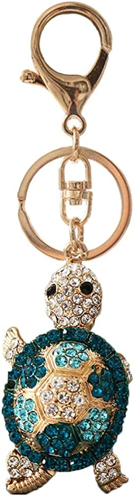 Tortoise Rhinestones Keychain,Sparkling Crystal Keyring Pendant