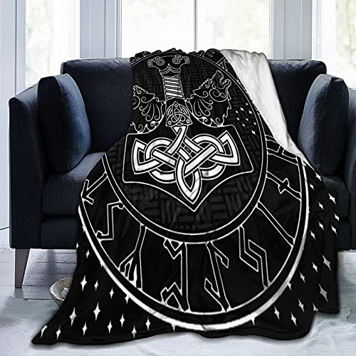 Thors Hammer Celtic Norse Mjollnir Scandinavian Runes and Two Wolfs Stars Soft Fleece Blanket Throw Blanket Cozy Warm and Lightweight 80'X60'