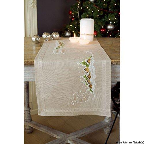 Vervaco borduurpakket tafelloper kruissteek voorgedrukt, katoen, wit, 40 x 100 x 0,3 cm