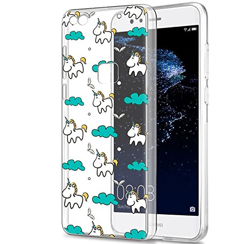Eouine Funda Huawei P9 Lite, Cárcasa Silicona 3D Transparente con Dibujos Diseño Suave Gel TPU [Antigolpes] de Protector Bumper Case Cover Fundas para Movil Huawei P9 Lite 2017 (Unicornio)