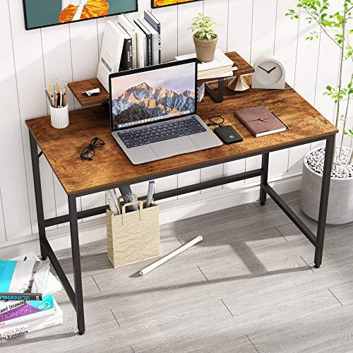 HOMEYFINE Escritorio de Computadora,Mesa de Computadora Portátil con Almacenamiento para Controlador,Mesa de Estudio para Oficina en Casa,120 x 60 x 73 cm (Acabado de Roble Vintage)