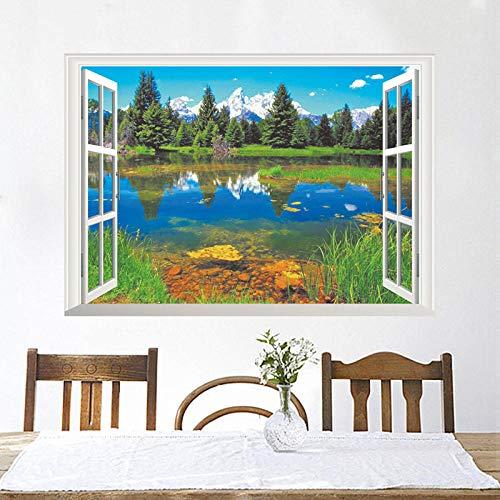 WSMSP 3D doe-het-zelf PVC muurstickers natuur bergen meer huis boom raam uitzicht woonkamer decoratie creatieve poster muurschildering Decor