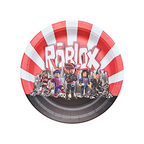 7 inch Plates for Roblox Party Plates Birthday Disposable Plates, Birthday Party Supplies Decorations 24 Packs