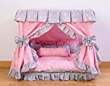 Kolachic Princess Pink Grey White Heart Pet Dog Handmade Bed House+1 Candy Pillow (M)