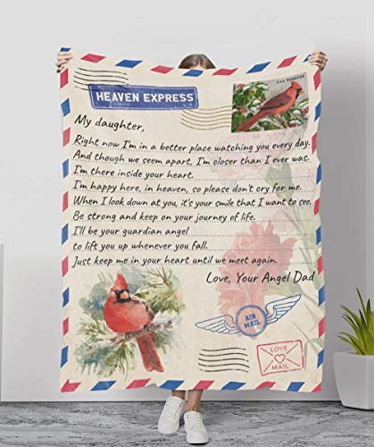 Personalized Cardinal Letter to My Daughter Fleece Blanket from Dad in Heaven, Mom in Heaven Memorial Gifts for Loss of Father Sympathy Gifts for Loss of Mother Remembrance Angel Dad Blanket Gifts