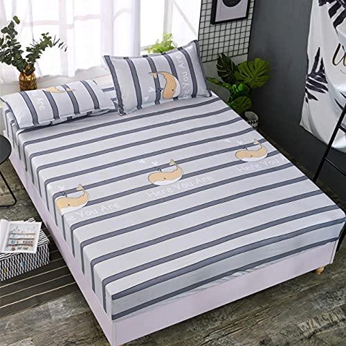 XLMHZP Sábana bajera ajustable geométrica para cama doble, tamaño Queen, sábana bajera ajustable con funda de colchón elástica, decoración de apartamento, dormitorio, 7 x 90 x 200 cm + 25 cm