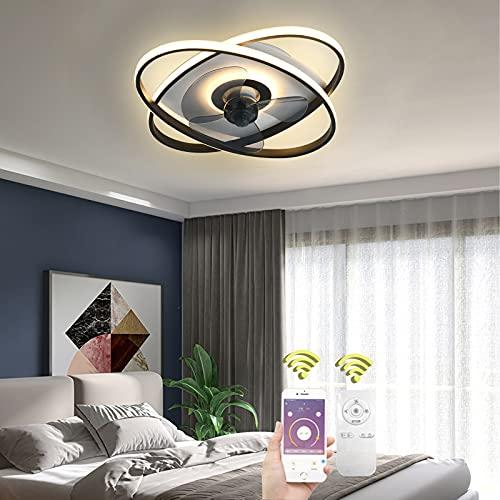 LED Ventilador de Techo con Iluminación Lampara de Techo con Mando a Distancia y App, Anillo Lampara Ventilador Techo Silencioso Regulable Ventiladores Luces para Sala de Estar Dormitorio, Negro