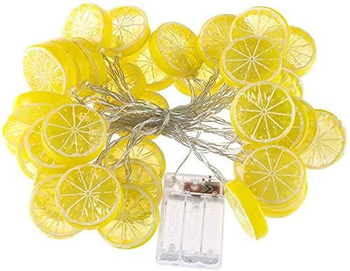 Catena luminosa a LED con fette di limone, colore giallo, per la simulazione di frutta, luce notturna a batteria, decorazione per terrazzo, recinzione, balcone, campeggio (giallo, 6 m/40 LED)