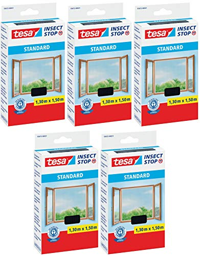 tesa® Insect Stop STANDARD Fliegengitter für Fenster - Insektenschutz zuschneidbar - Mückenschutz ohne Bohren - Fliegen Netz anthrazit, 130 cm x 150 cm (5)