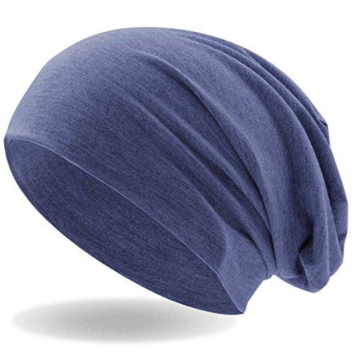 Hatstar Klassische Slouch Long Beanie Mütze, leicht und weich, für Damen und Herren (Jeans Blau meliert)