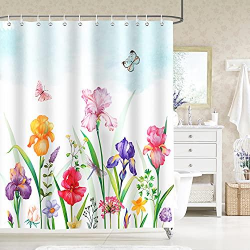 Bonhause Duschvorhang 180 x 180 cm Garten Blume Iris Narzisse Schmetterling Duschvorhänge Anti-Schimmel Wasserdicht Polyester Stoff Waschbar Bad Vorhang für Badzimmer mit 12 Duschvorhangringen