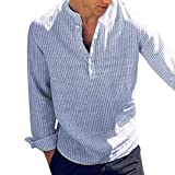 Camisa a Rayas para Hombre Promoción Moda Manga Larga Cuello Henry Regular Fit Shirt Hombres Básica Casual Blusa con Botón Camisas Tops Tallas Grandes Yvelands(Azul,XXL)